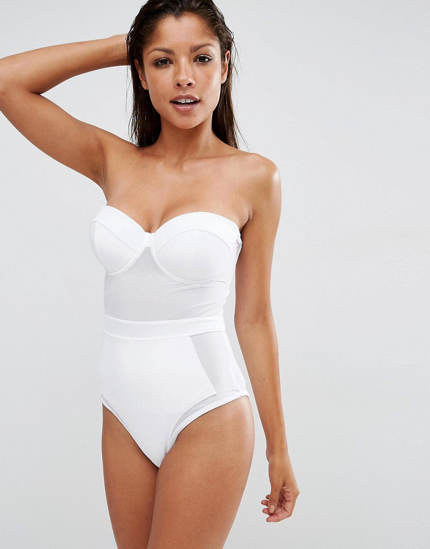 High Waist Triangle Push Up One-Piece Swimsuit - Knot Bene