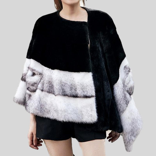 Genuine Mink  Fur  O-Neck Patchwork Long Spliced Coat