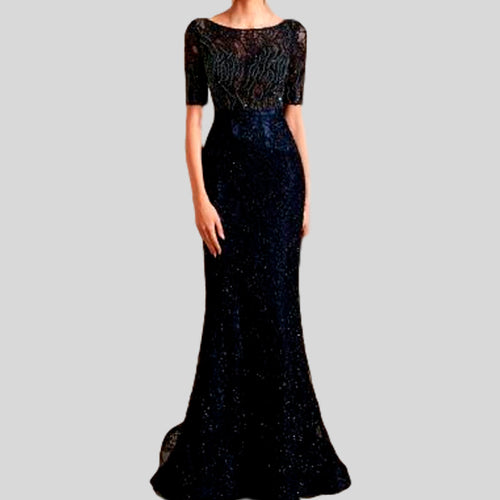 Lace Half Sleeves Formal Gown Dress