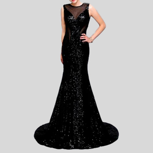 Mermaid O Neck With Straps Backless Sequins Evening Long Dress