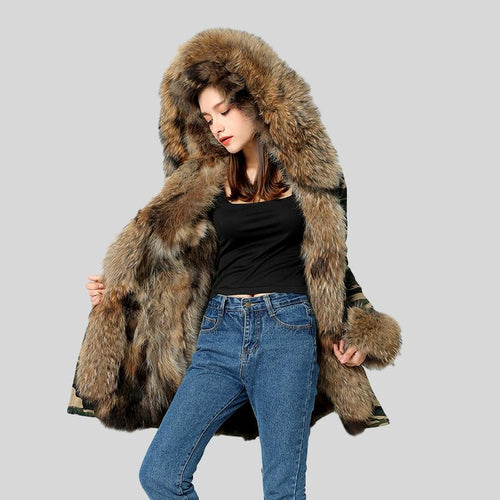 Genuine Raccoon Fur Collar Fox Fur Liner Jacket - Knot Bene