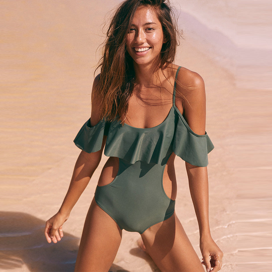 Off Shoulder Ruffle Hollow Out One-Piece Swimsuit