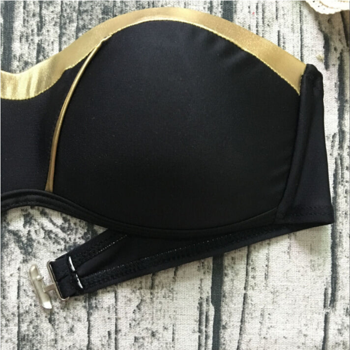 Push-Up Paded Bronzing Solid Strapless Swimsuit