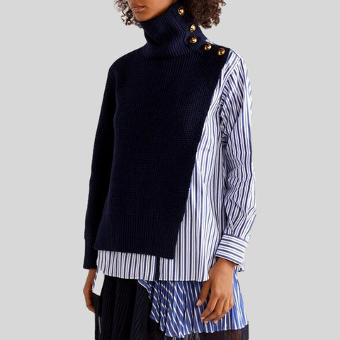 Hit Color Two Piece  Irregular Sweater Turtleneck Lantern Sleeve Set