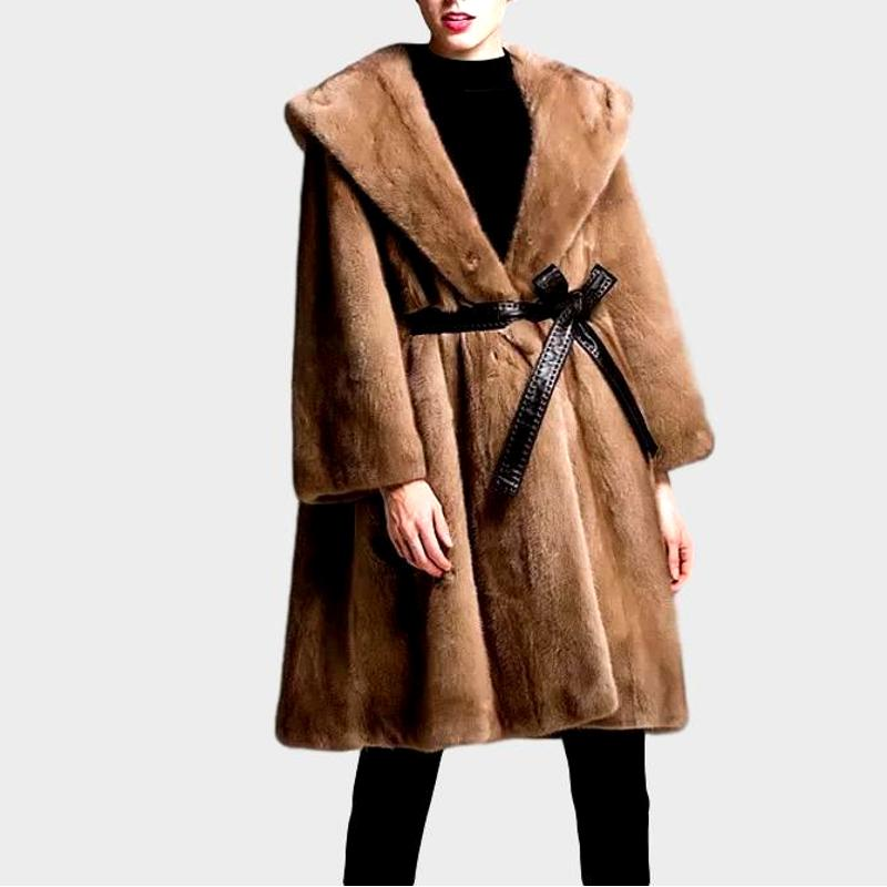 Genuine Mink Long Style with Leather Belt  Fur Coat