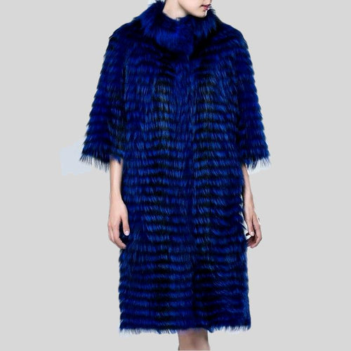 Luxury Silver Fox Fur Three Quarter Sleeves Coat