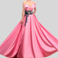 Pink One Shoulder  Flowers Sashes Sleeveless Dress