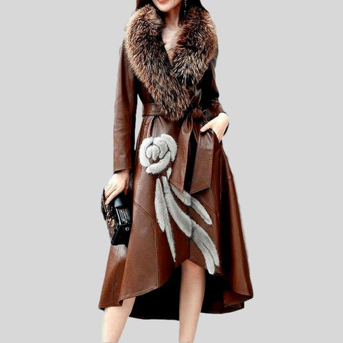 Genuine Fox Fur Collar  Leather Windbreaker Coat