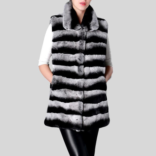 Real Rex Rabbit Fur Chinchilla Color Turn-down Collar Natural Fur Vest