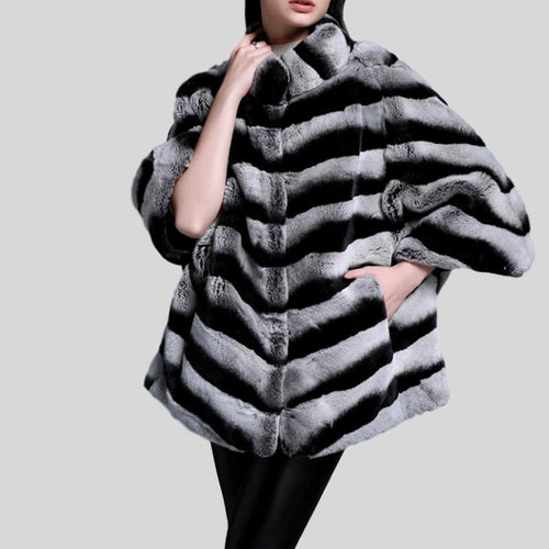 Bat Swing Sleeve Real Fur Chinchilla Color Rabbit Fur Poncho Coats