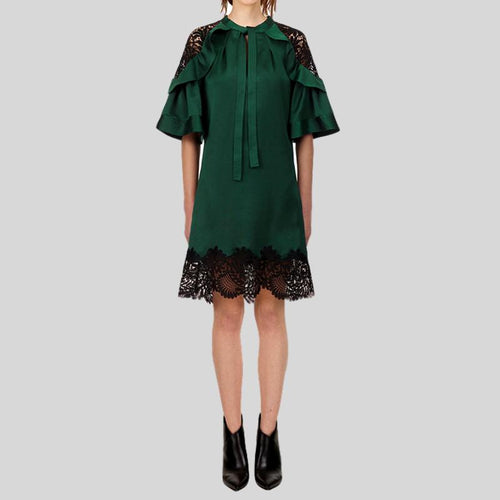 Deep Green Lace Mini  Patchwork Loose  Cloak Sleeve dress