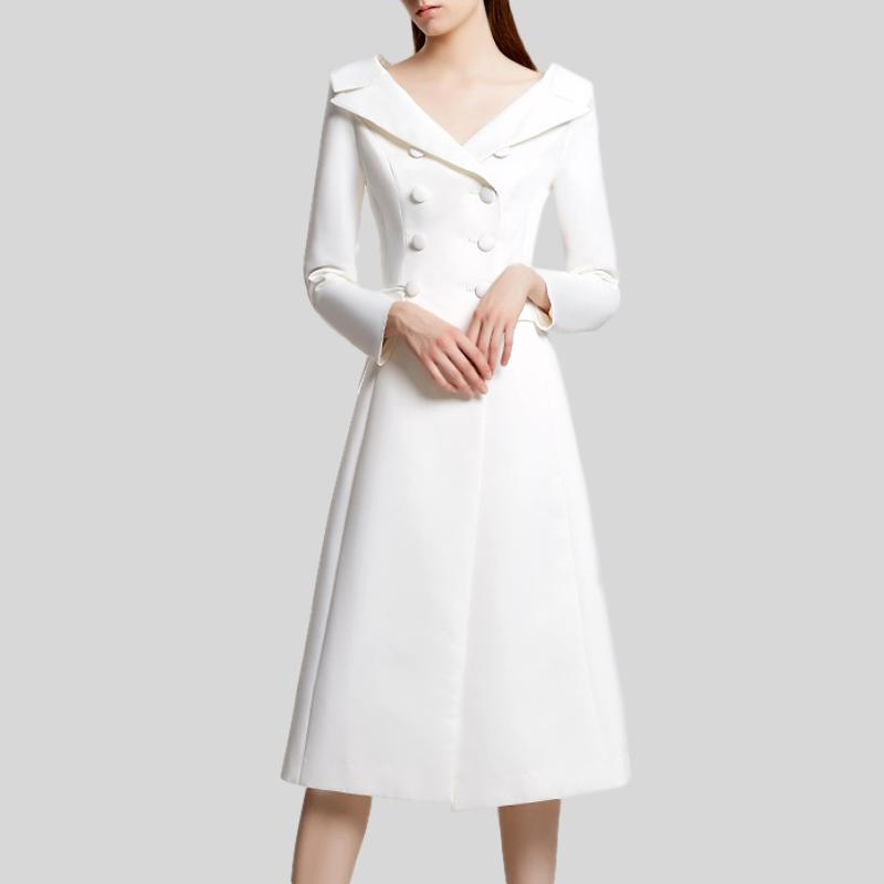 Runway Double Deasted Deep V Neck Long Sleeve Dress
