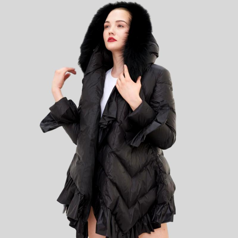 90% Duck Down  Ruffles with  Big Real Raccoon Fur Collar Coat