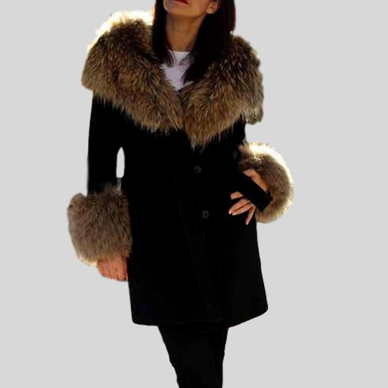 Luxury Cashmere With Black Raccoon Fur Collar Long Coat