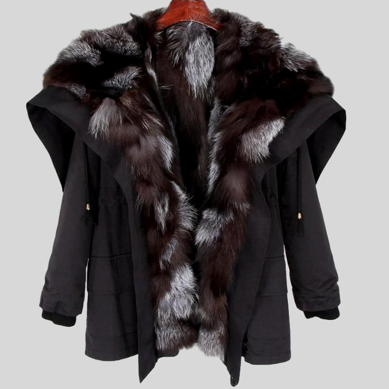 Natural Raccoon Fur Collar Hooded Rex Rabbit Fur Fox Fur Liner Loose Black Parka