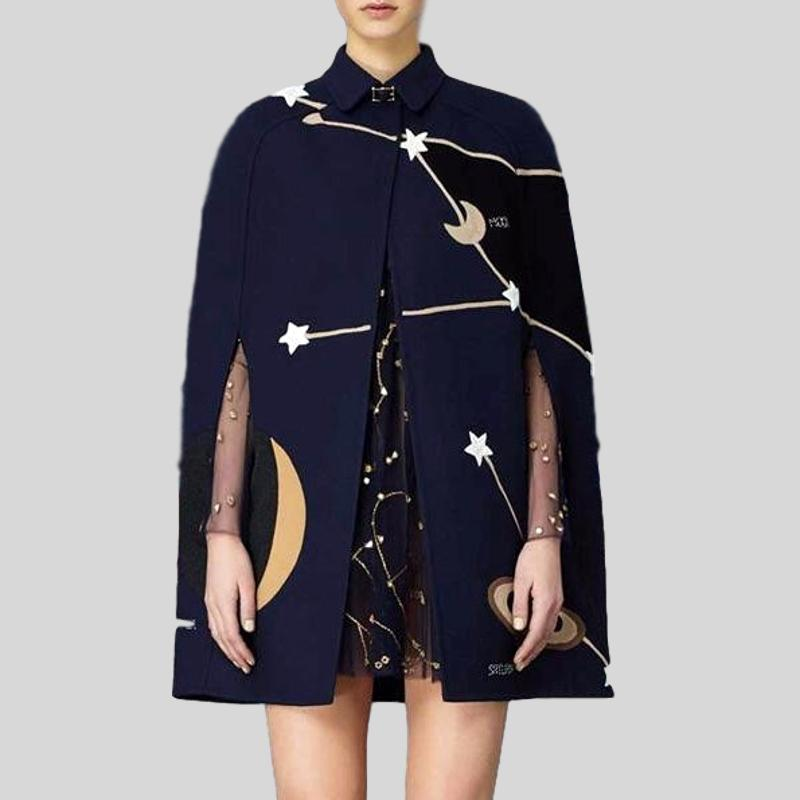 Runway Cape  Plus Size Wool Embroidery Moon&Star Cloak- plus sizes