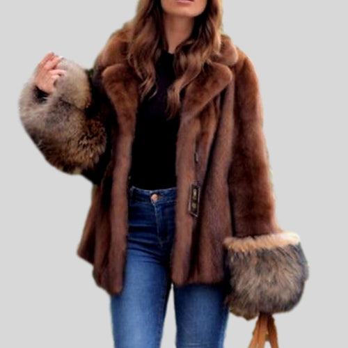 Luxury Fashion Mink Fur  With Fox Cuff Coat