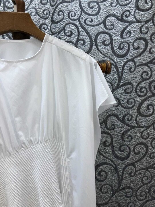 Summer 2019 New Round Neck Irregularly Cut Pure T-shirt Top