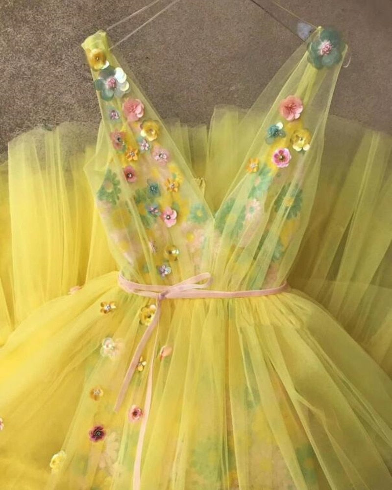 Yellow Sheer Applique lace Evening  3D flowers Tiered Tulle Ruffle Dress