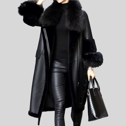 Genuine Rabbit Fur Knitted Raccoon Collar Jacket