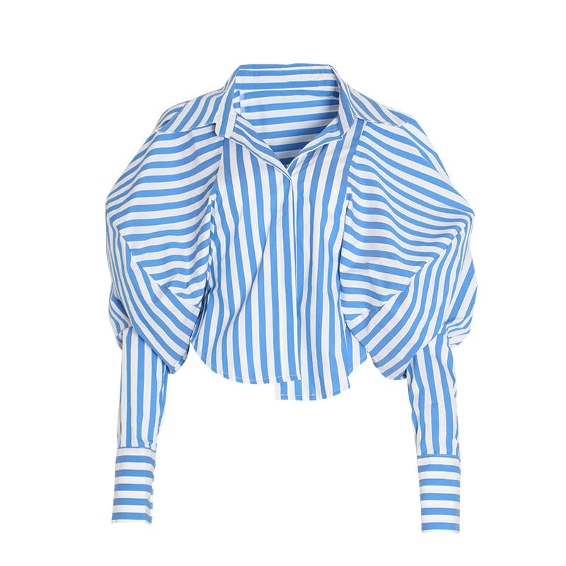 Striped Lapel Collar Puff Sleeve Loose Asymmetrical Top