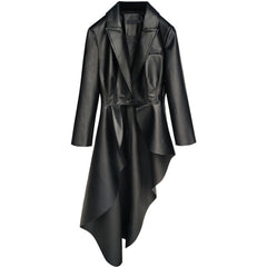 PU Leather Lapel Collar Long Sleeve Sashes Irregular Hem Windbreaker Blazer