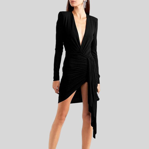 Lace Up V Neck Long Sleeve High Waist Slim  Dress