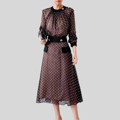 Polka Dot  Long Sleeve O Neck High Waist A Line Dress