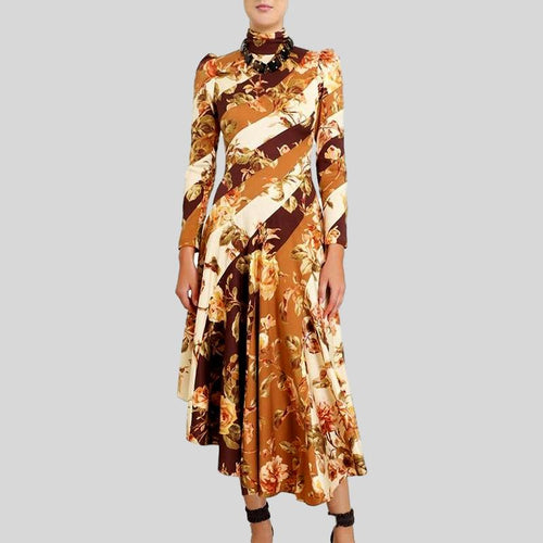 Print Floral  Turtleneck Long Sleeve High Waist Hit Color Dress