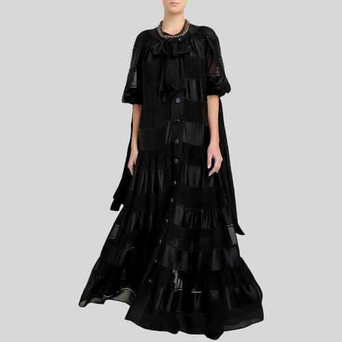 Black O Neck Half Sleeve High Waist A Line Dress
