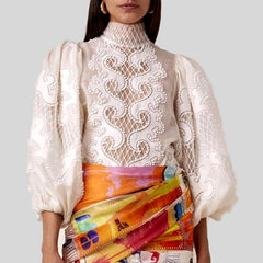 White Elegant Embroidery Scarf Collar Lantern Sleeve Top