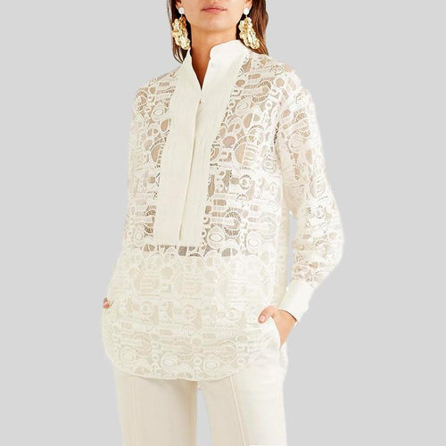 Autumn Elegant Long Sleeve White Lace Top