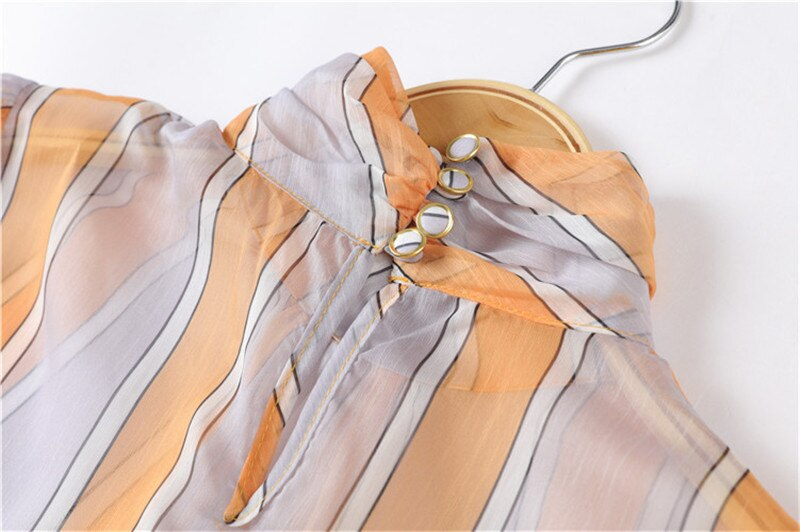 Runway Autumn Vintage Stand Collar Long Sleeve Striped Chiffon Top