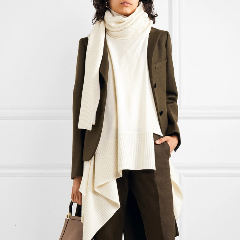 Asymmetrical Patchwork Scarf Collar Long Sleeve Pocket Irregular Hem Coat