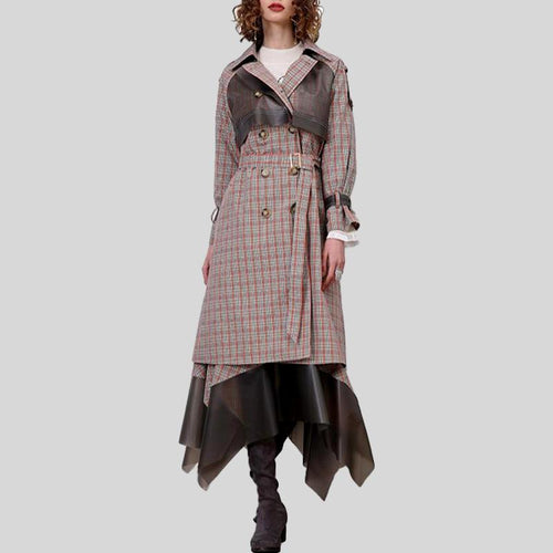 Elegant Patchwork Windbreaker Lapel Collar Long Sleeve High Waist Sashes Trench Coat