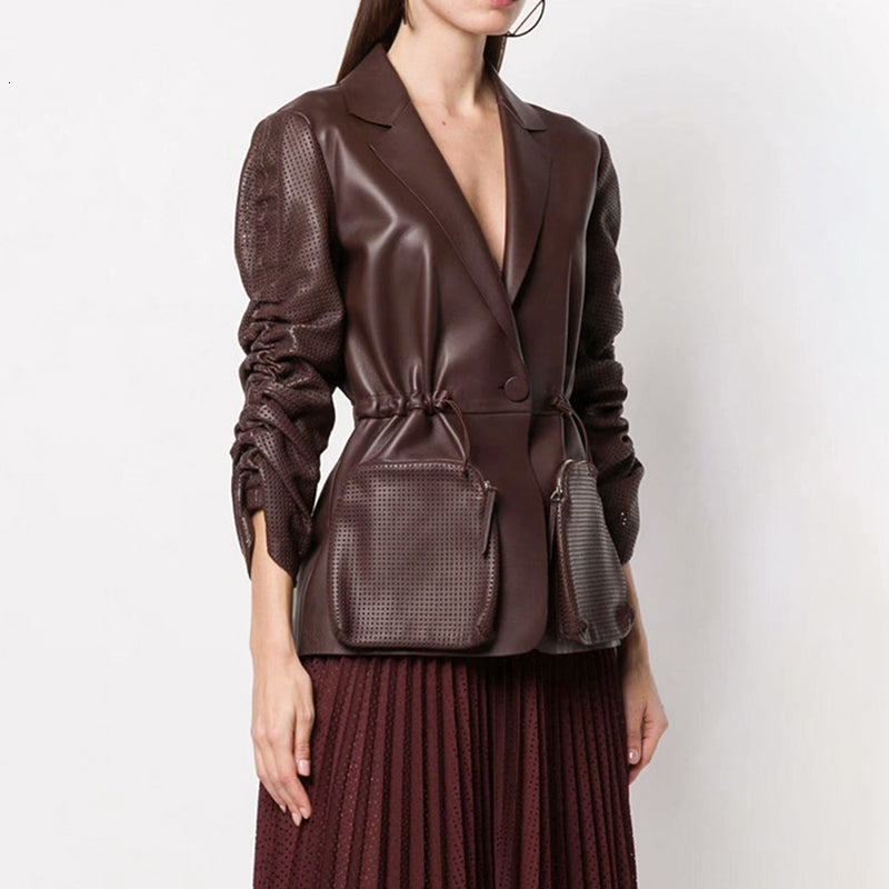 Ruched Puff Sleeve Notched Pocket Drawstring High Waist  Coat