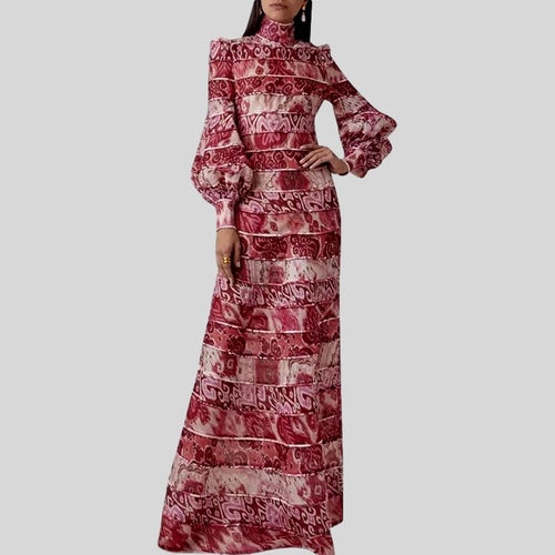 Elegant Print Turtleneck Lantern Long Sleeve High Waist Vintage Dress