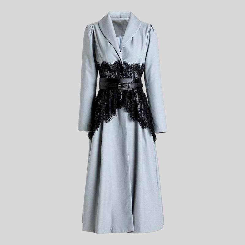 Runway  Long Overcoat Lace Patchwork Trench Windbreaker Dress