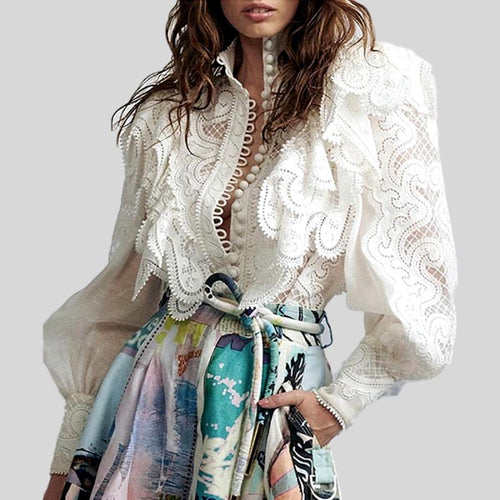 Solid white Geometric Pattern Embroidered Ruffles Turtleneck Lantern Sleeve Top
