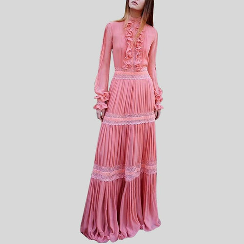 Patchwork Ruffles Pleated Turtleneck Flare Sleeve High Waist Maxi Dress