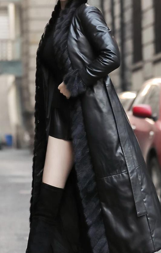 Genuine Mink Fur Collar Real Genuine Leather Down Coat