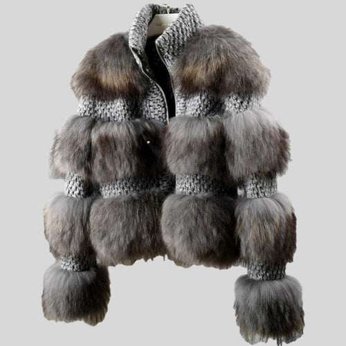 Grey Real Fur Natural Raccoon Fur Woolen Coat
