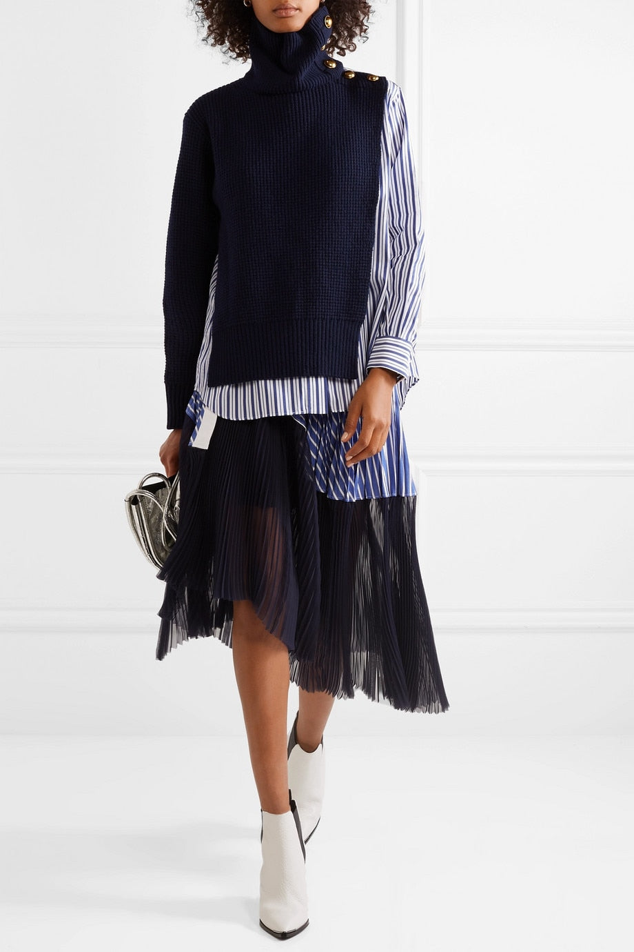 Two-piece Sweater Turtleneck Stripe Top
