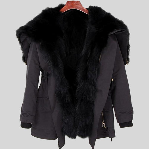 Black Big Real Fox Fur Parka Coat