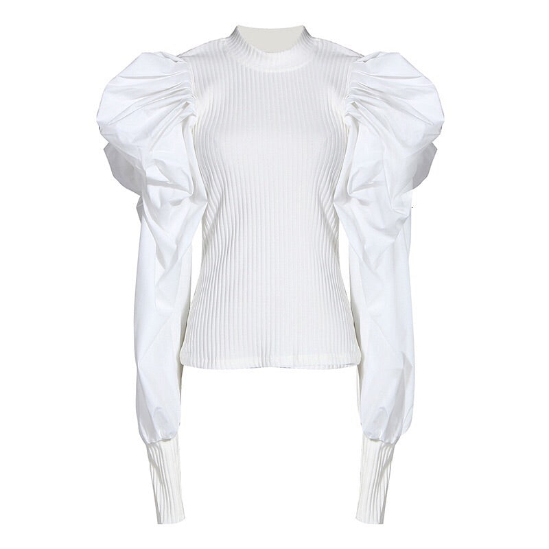 White Patchwork Knitted Ruched Women' Sweater O Neck Puff Sleeve Pullover Female Streetwear Autumn Fashion New 2019