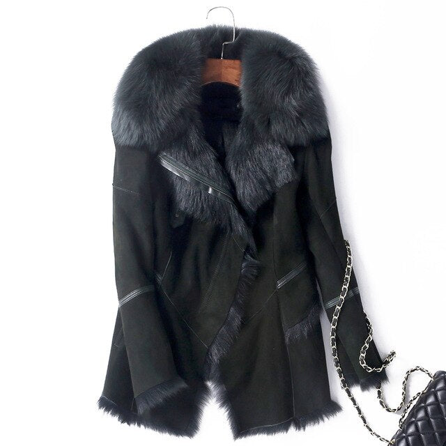 Genuine Leather Real Fox Fur Collar Jacket