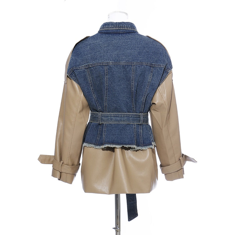 Patchwork Denim  Lapel Collar Long Sleeve Jacket