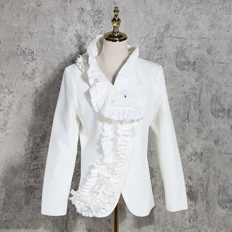 Elegant Asymmetrical Ruffles  Stand Collar Long Sleeve Slim Jacket