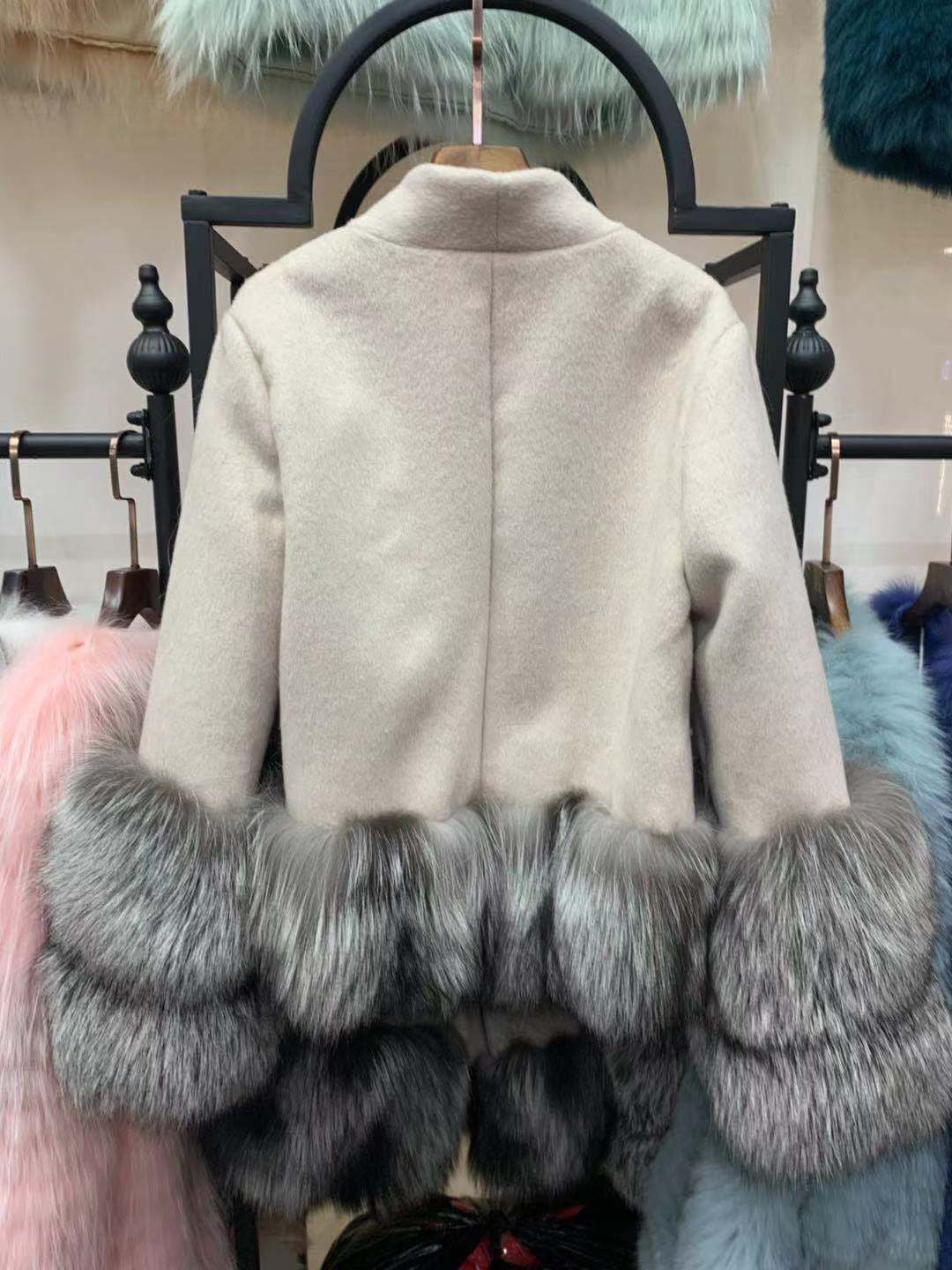 100% Natural Silver Fox Fur Cuff Thick Warm Cashmere Wool Blends  Fur Coat