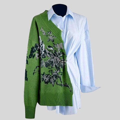Elegant White Patchwork Lace Stand Collar Lantern Long Sleeve Top